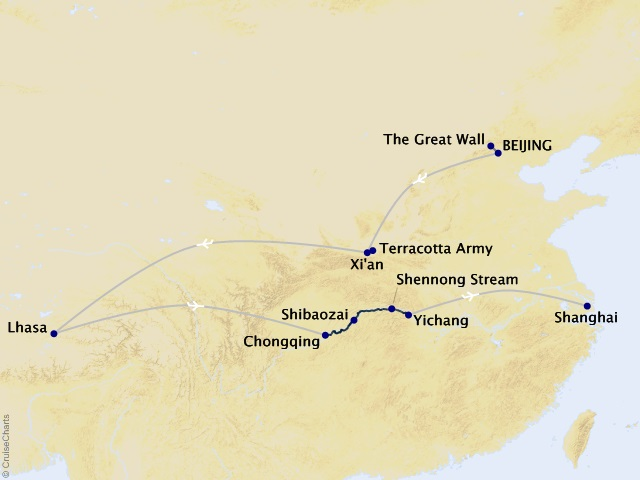 13-night China, Tibet, & the Yangtze Cruise/Land Package Map