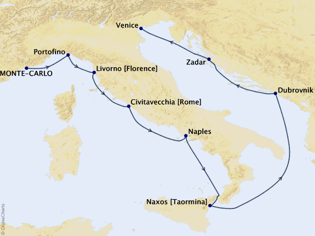 10-night Mediterranean Cruise Map