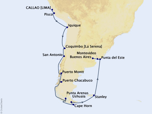 21-night The Best of South America Cruise Map