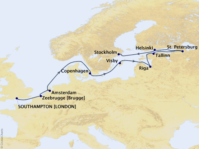 12-night Baltic Discovery Cruise Map