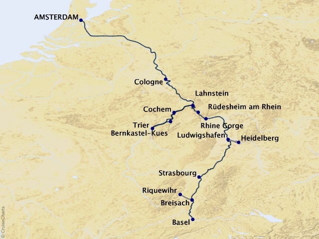 11-night Rhine and Moselle Fairytales Cruise Map