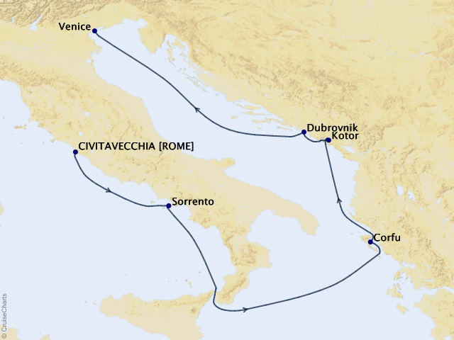 7-night Treasures of Italy and the Adriatic Cruise Map