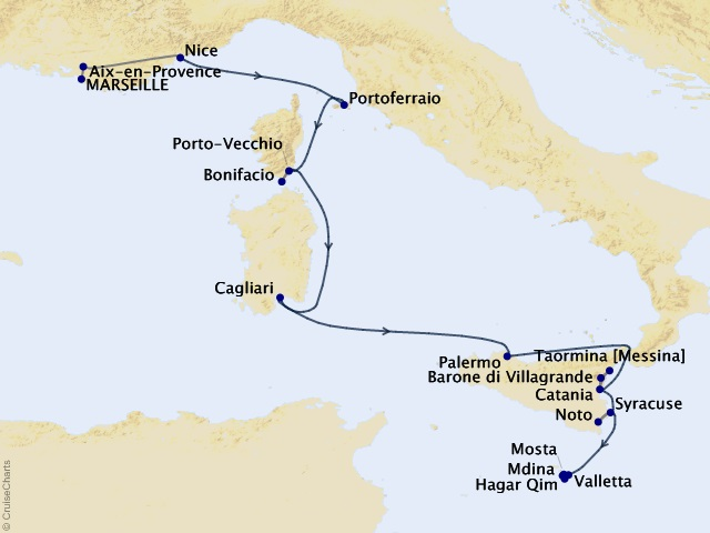11-night Treasures of the Mediterranean Isles Cruise/Land Package Map