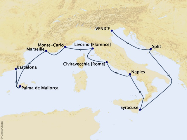 10-night Mediterranean Palette Voyage Map