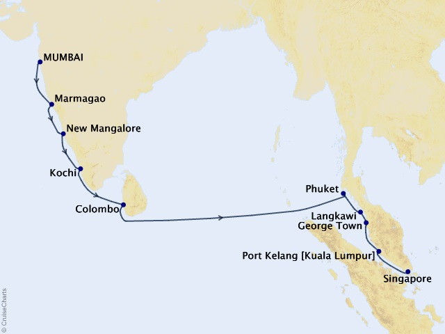 14-night India and Asia Cruise Map