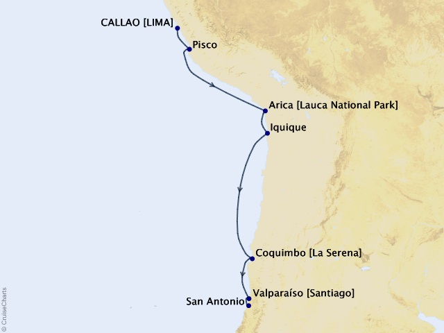 10-night Peru and Chile Voyage Itinerary Map