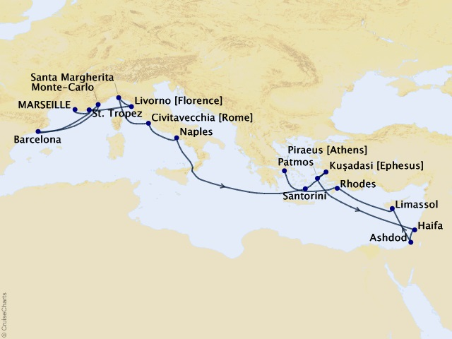 20-night Grand Journey – Mediterranean & Holy Land Cruise Map