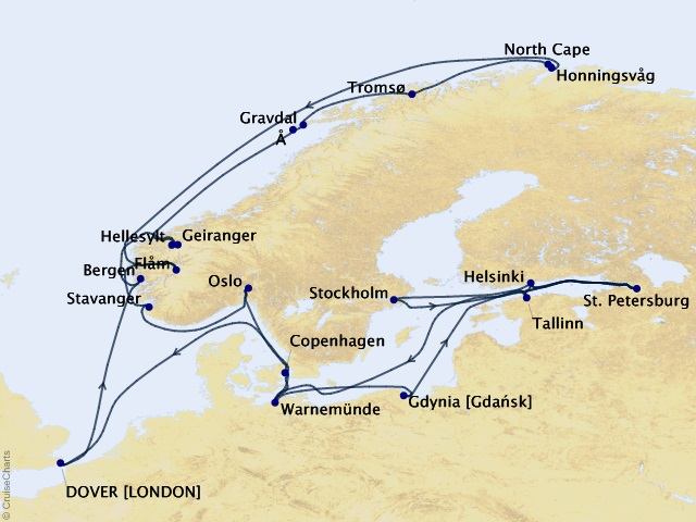 37-night Grand Journey – Norwegian Fjords & Baltic Sea Cruise Map