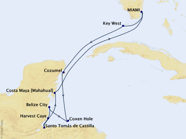 10-night Myths, Mayans, and Marinas Voyage Itinerary Map