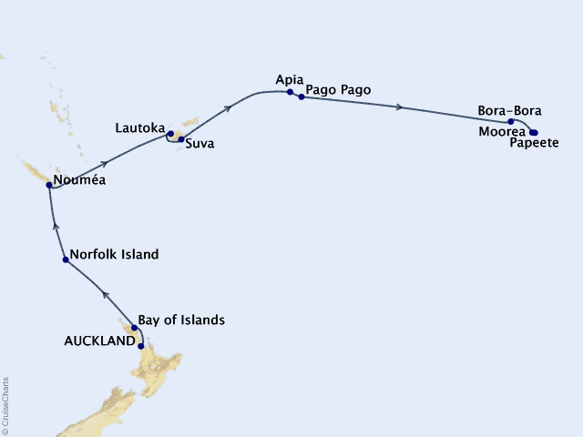 15-night Tahitian Traditions Cruise Map