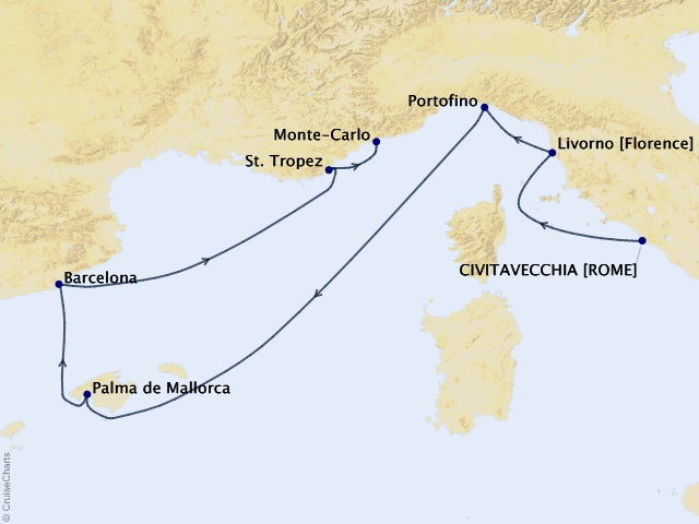 7-night El Greco to Gaudi Cruise Map