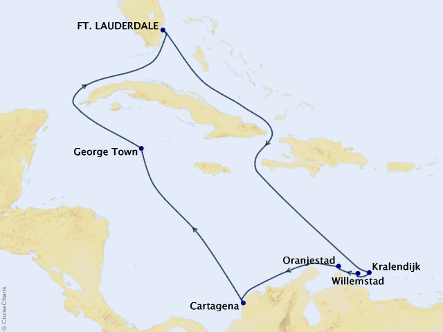 11-night Aruba, Bonaire, & Curacao Cruise Itinerary Map