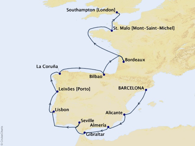 15-night Ramblas to Royalty - World Voyage Segment Map