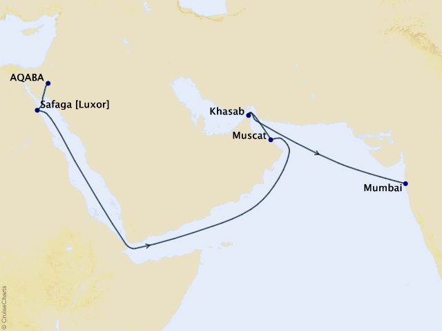 14-night Middle East Cruise Map
