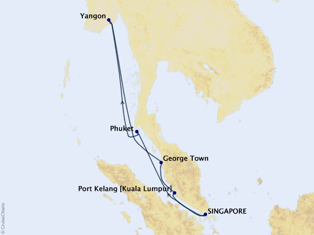12-night Myanmar's Mysteries Voyage Map