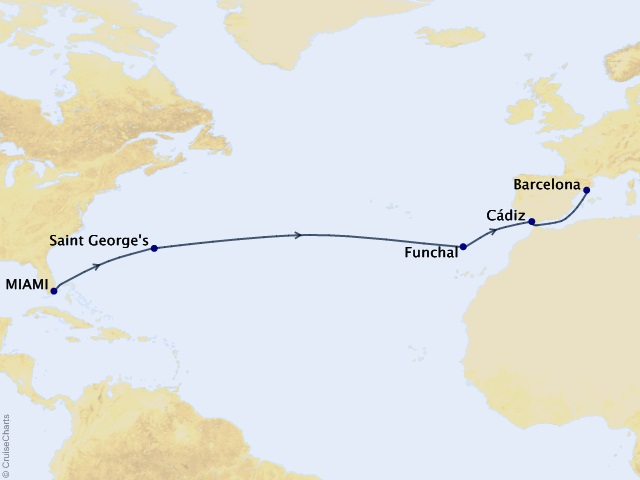 14-night Crossing to Iberia Voyage Map
