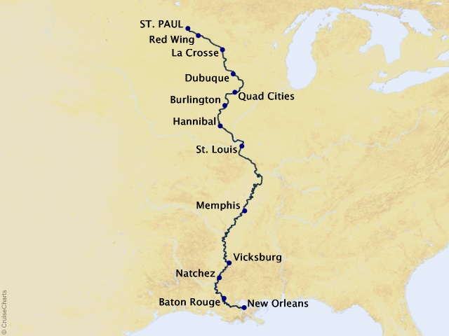 14-night America's Great River Cruise Map