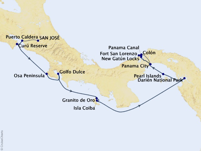 10-night Costa Rica and Panama – Canal, Culture, Adventure Cruise Map
