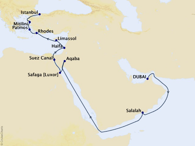 20-night Ancient Wonders Cruise Map