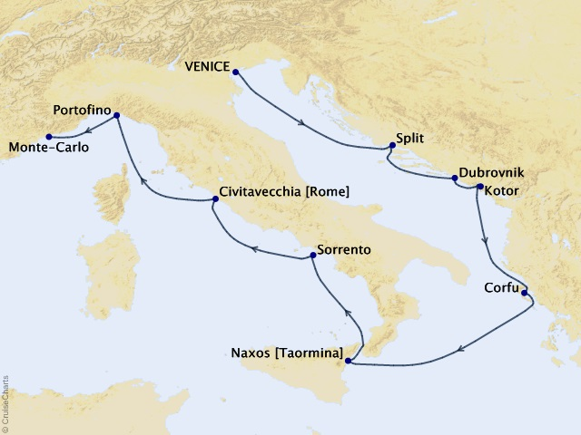 9-night Mediterranean Masquerade Cruise Map