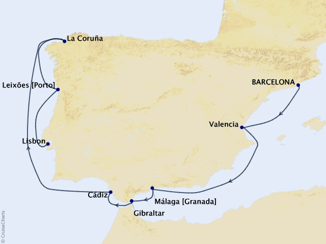 10-night Best of Spain and Portugal Cruise Itinerary Map