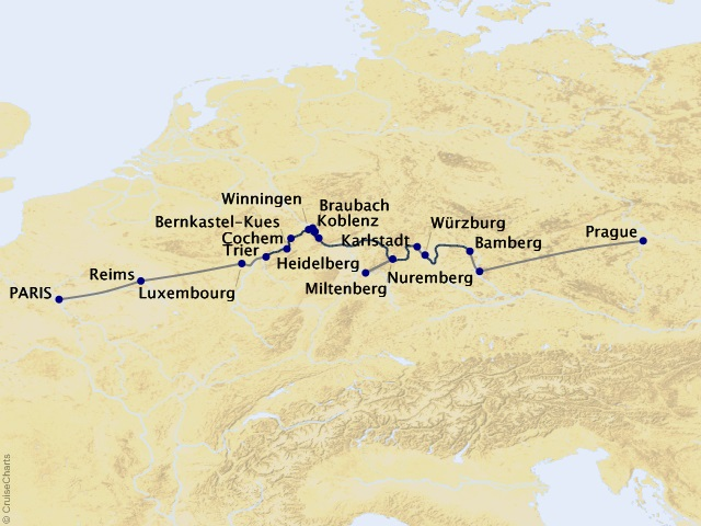 11-night Cities of Light Cruisetour Map