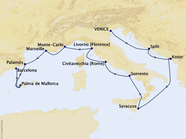 12-night Gondolas to Gaudi Voyage Map