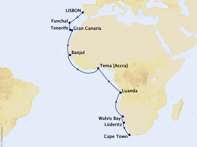21-night Western Africa Voyage Map