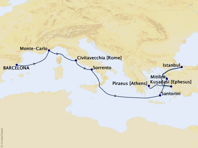 10-night Medieval Sojourn Voyage Itinerary Map