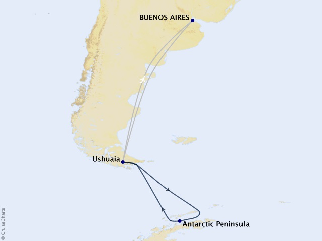 Journey to Antarctica – The White Continent Cruise Map