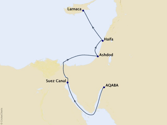 8-night Petra, Holy Land, and Cyprus Cruise Itinerary Map