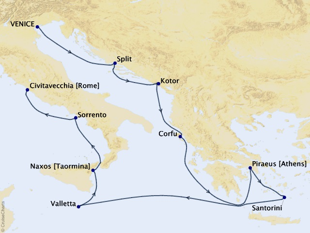 12-night Monumental Mediterranean Cruise Map