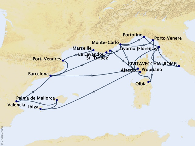 26-night Grand Journey – the Mediterranean Cruise Map
