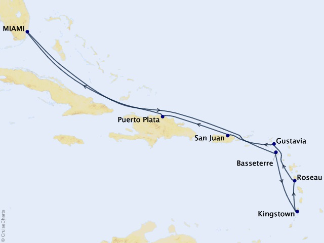 10-night Enticing Caribbean Voyage Map