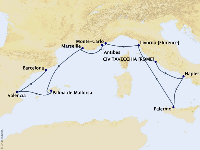 10-night Exquisite Epicurean Delights Cruise Map