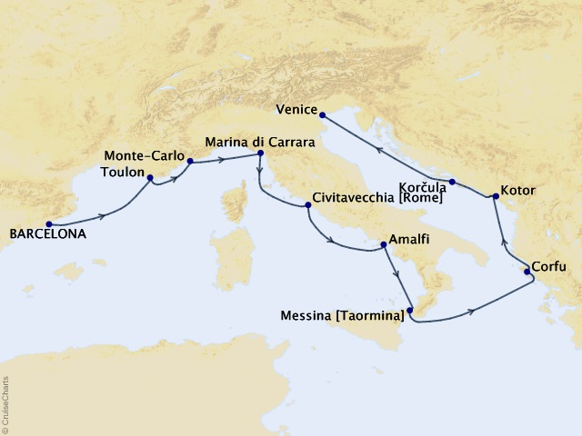 10-night Mediterranean Spotlight Voyage Map