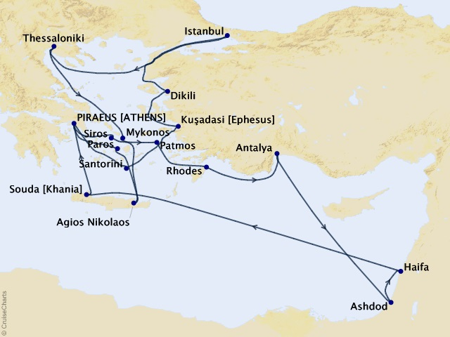 22-night Mediterranean Cruise Map