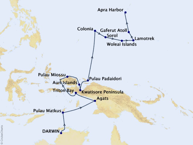 19-night South Pacific Islands Cruise Itinerary Map