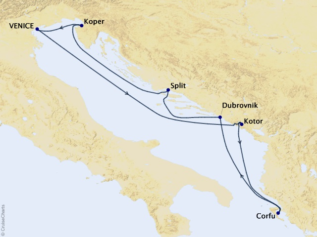 7-night Adriatic Adventure Cruise Map
