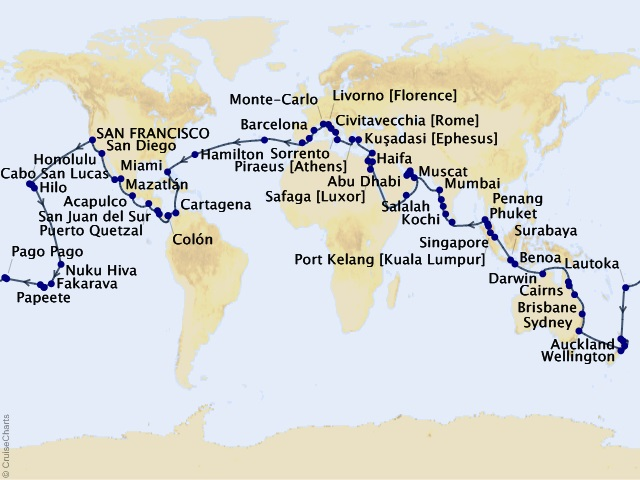 131-night Navigate the World - Full World Cruise