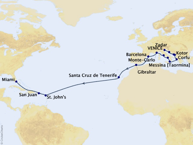 23-night North Atlantic Memoirs Voyage Map