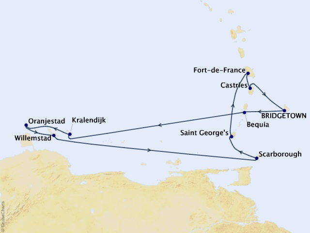 11-night Southern Caribbean Cruise Map