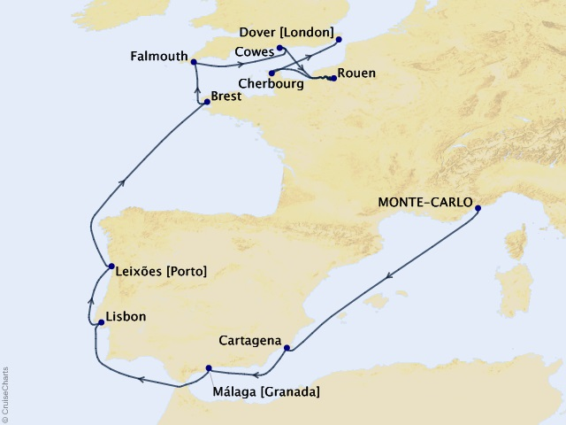 14-night Iberian Gems and France Cruise Map