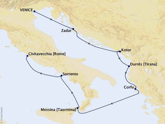7-night Dreaming of Dalmatia Cruise Map
