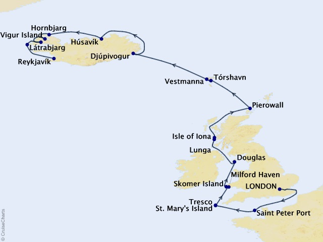 14-night Northern Europe & British Isles Expedition Cruise Map