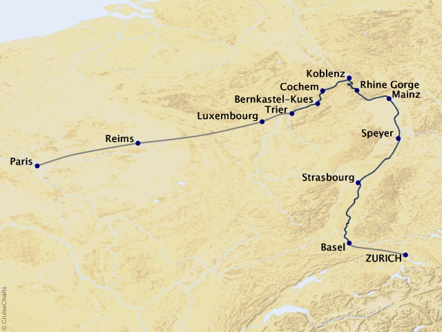 11-night Paris to the Swiss Alps Cruise/Land Package Map