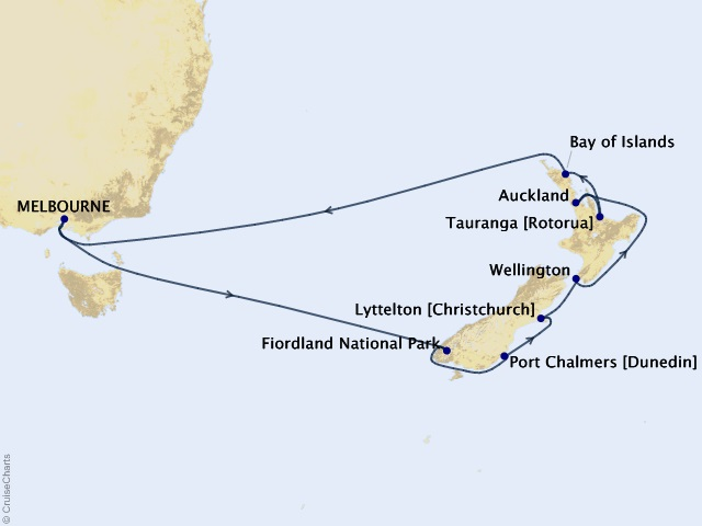 14-night New Zealand Cruise Map