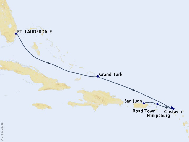 7-night Caribbean & Central America Cruise Map