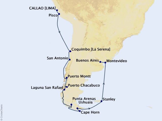 20-night Charismatic Cape Voyage Map