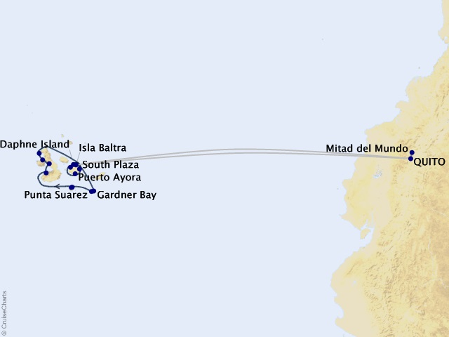 11-night Quito & Galápagos Outer Loop Cruisetour Map